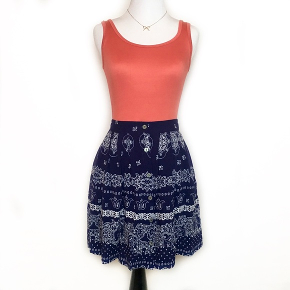 24f9b9114d Xhilaration Skirts | Bandana Paisley Print Skater Flare Skirt Xxs Xs ...